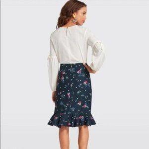 Draper James Bouquet Dot Floral Navy Ruffle Skirt